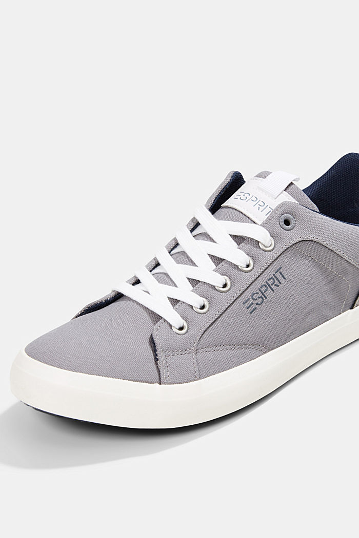 Canvas trainers with a faux leather finish, LIGHT GREY, detail image number 4