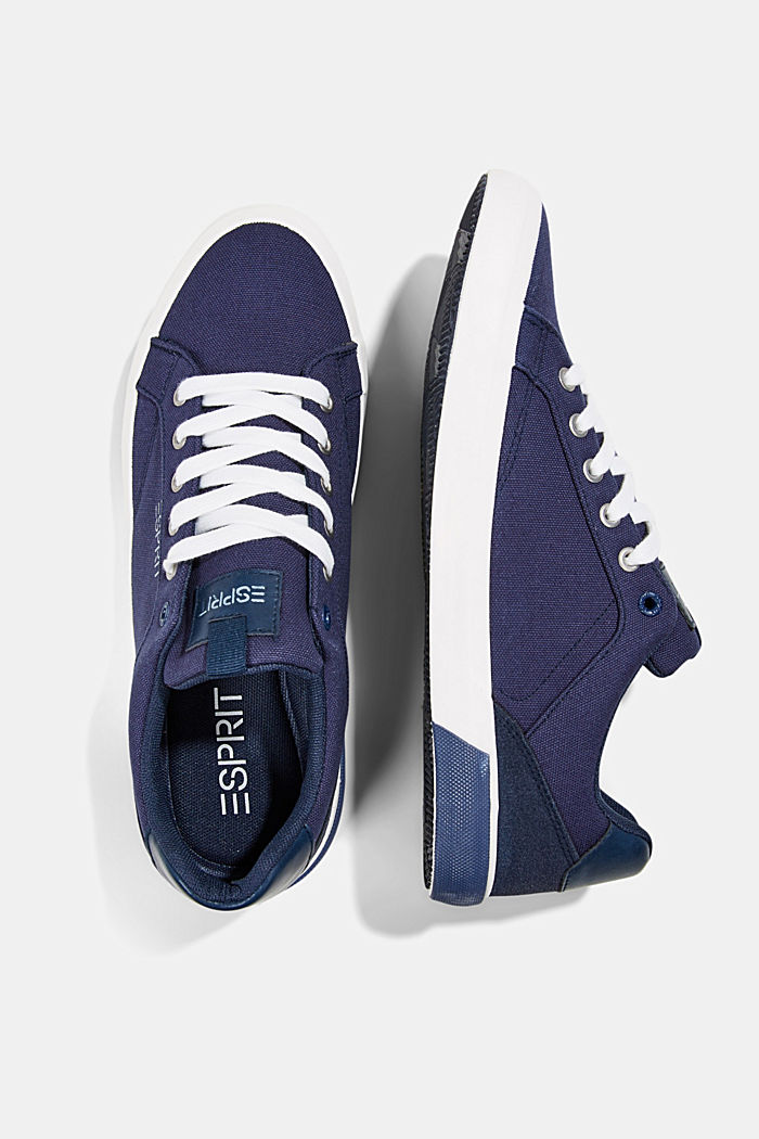 Canvas trainers with a faux leather finish, DARK BLUE, detail image number 1
