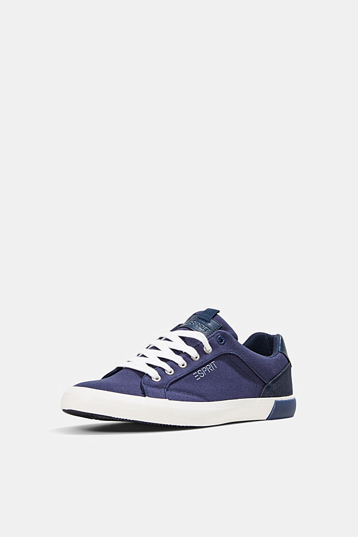 Canvas trainers with a faux leather finish, DARK BLUE, detail image number 2