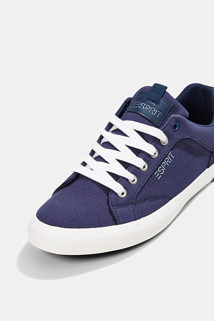 Canvas trainers with a faux leather finish, DARK BLUE, detail image number 4