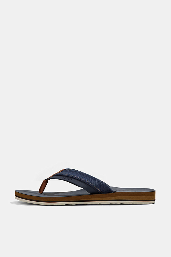 Material-mix thong sandals, DARK BLUE, detail image number 0