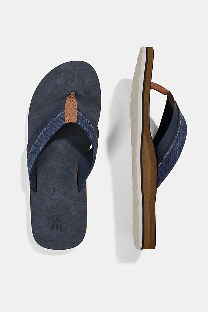 Material-mix thong sandals, DARK BLUE, detail image number 1