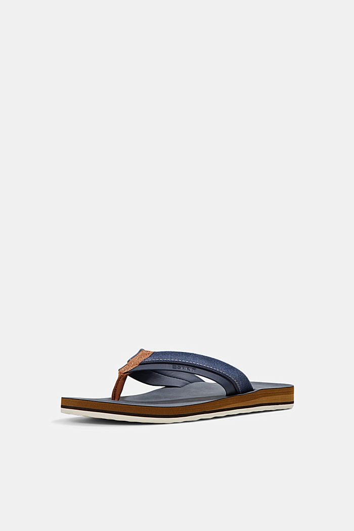 Material-mix thong sandals, DARK BLUE, detail image number 2