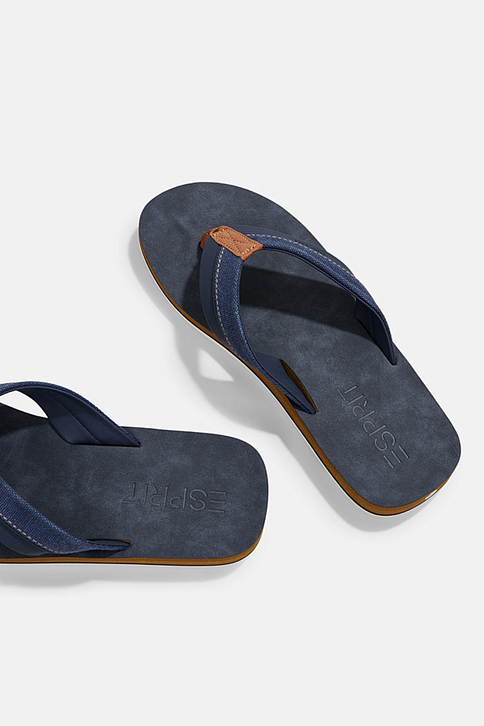 Material-mix thong sandals, DARK BLUE, detail image number 3