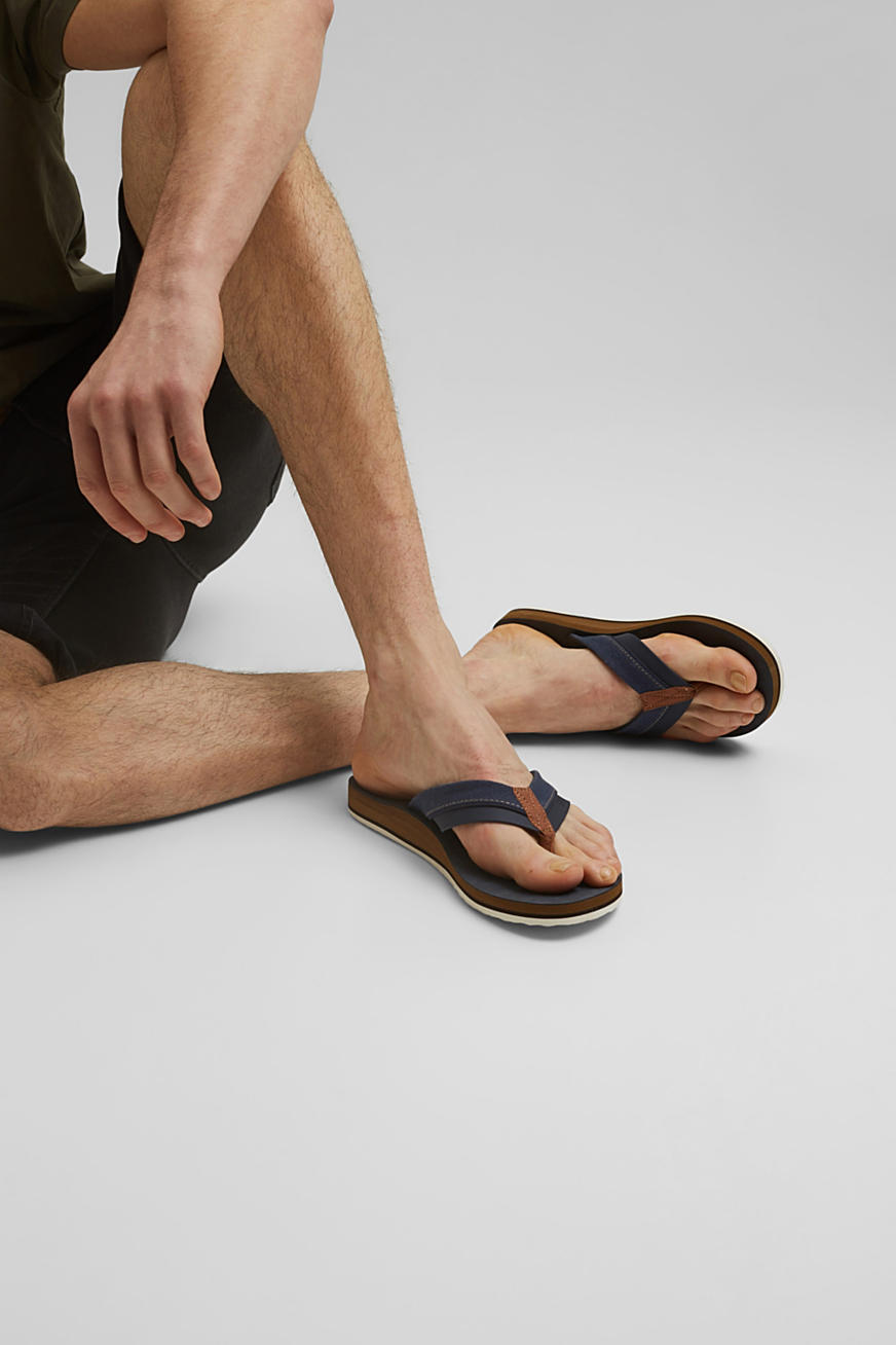 Material-mix thong sandals