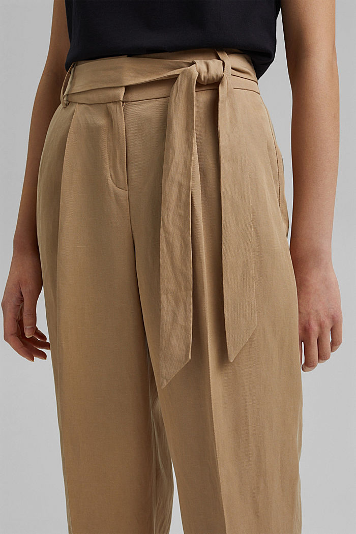 SOFT Mix + Match linen blend trousers, BEIGE, detail image number 2