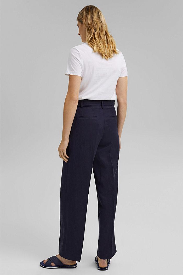 SOFT Mix + Match linen blend trousers, NAVY, detail image number 3