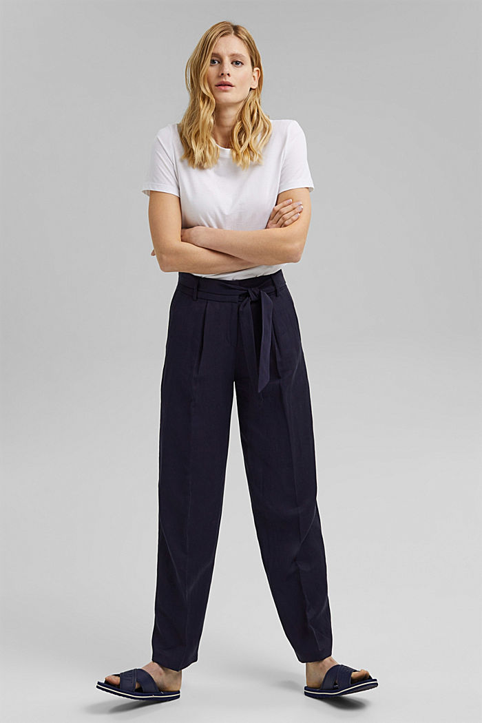 SOFT Mix + Match linen blend trousers, NAVY, detail image number 6