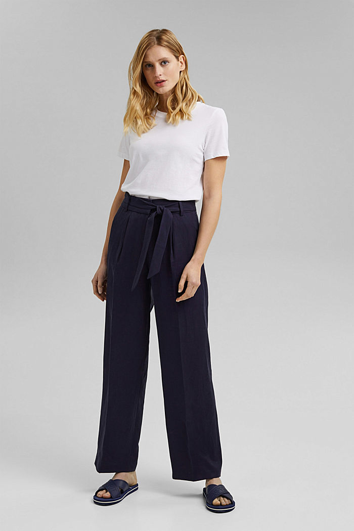 SOFT Mix + Match linen blend trousers, NAVY, detail image number 1
