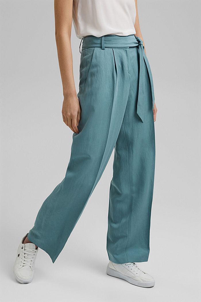 SOFT mix + match broek met linnen, DARK TURQUOISE, detail image number 0
