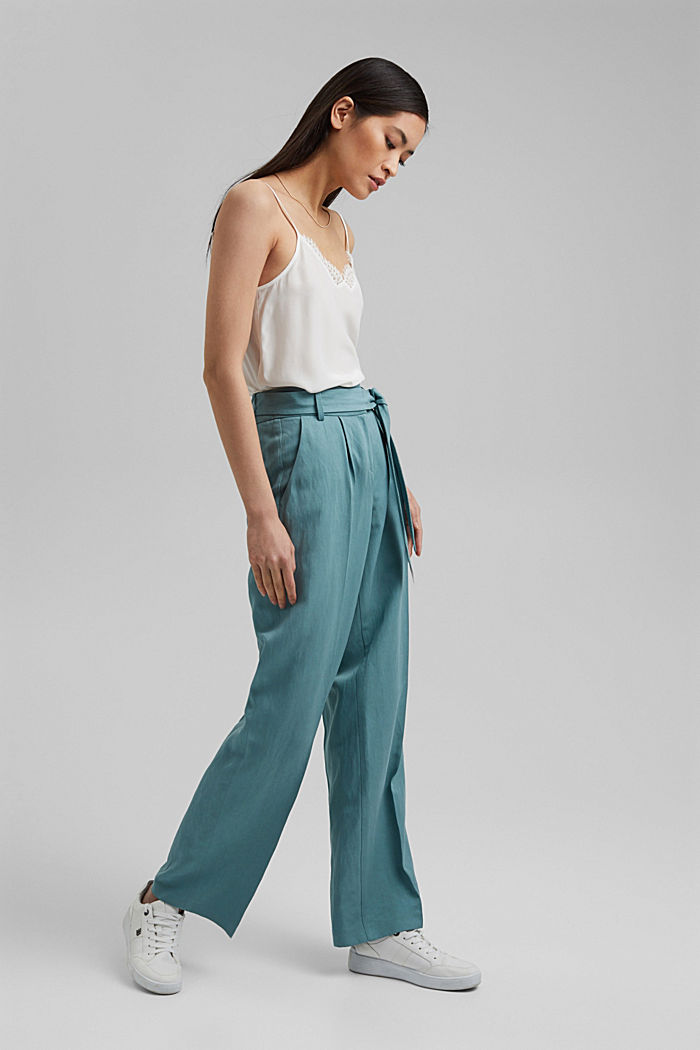 SOFT mix + match broek met linnen, DARK TURQUOISE, detail image number 1