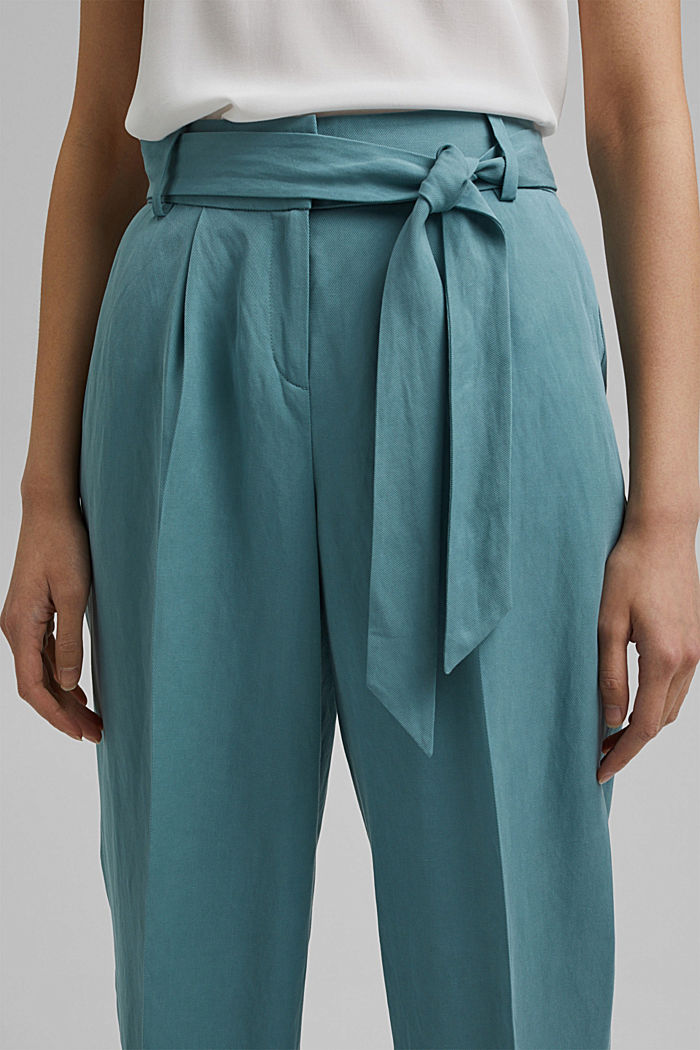 SOFT mix + match broek met linnen, DARK TURQUOISE, detail image number 2