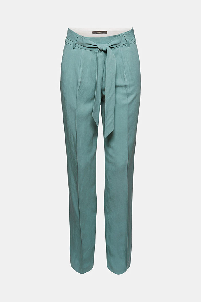 SOFT mix + match broek met linnen, DARK TURQUOISE, detail image number 6