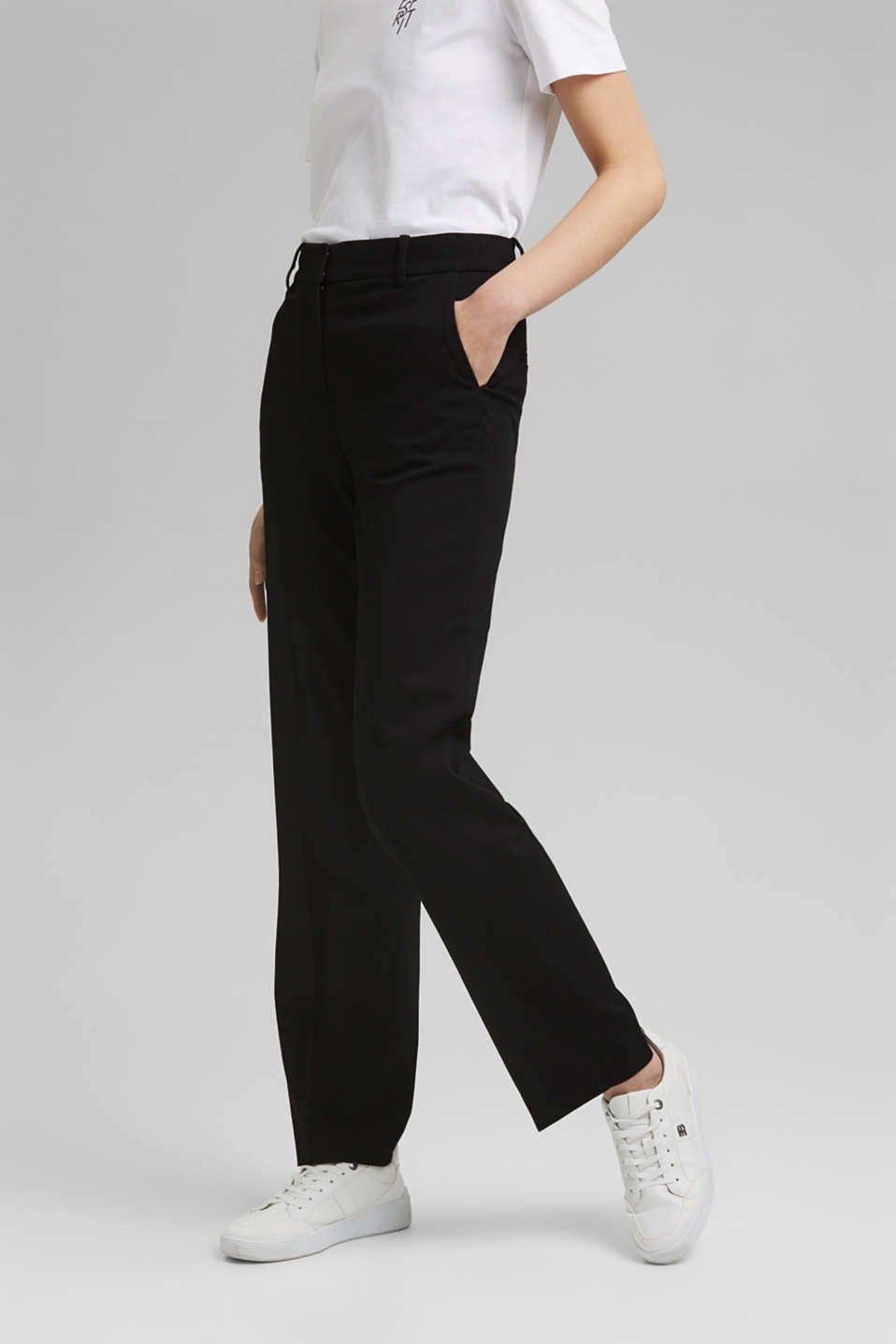 Esprit - TWILL Mix + Match high-rise trousers