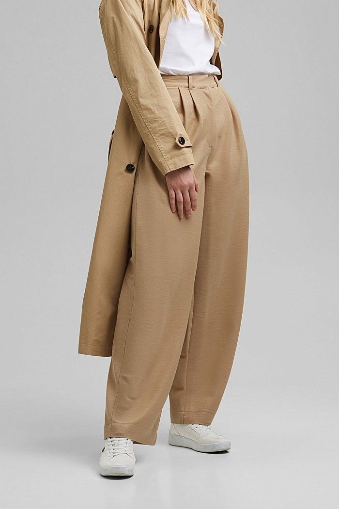 PIQUE mix + match trousers with a wide leg, BEIGE, detail image number 0