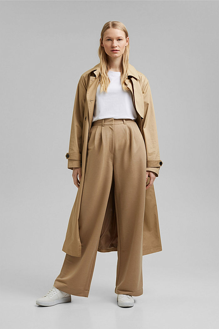 PIQUE mix + match trousers with a wide leg, BEIGE, detail image number 1