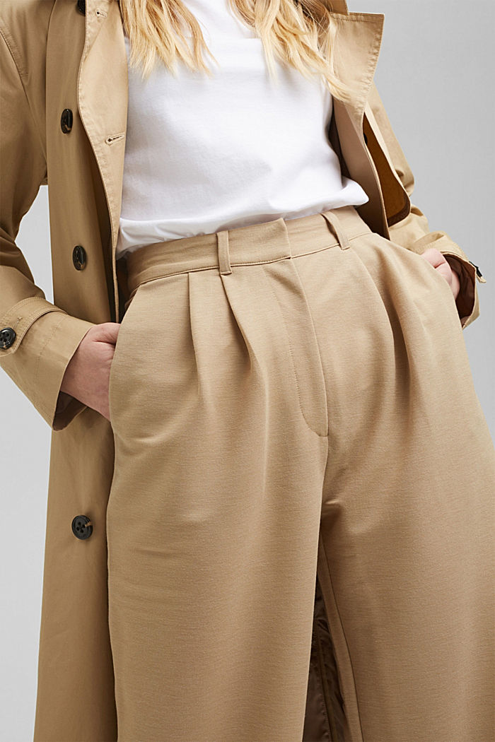 PIQUE mix + match trousers with a wide leg, BEIGE, detail image number 2