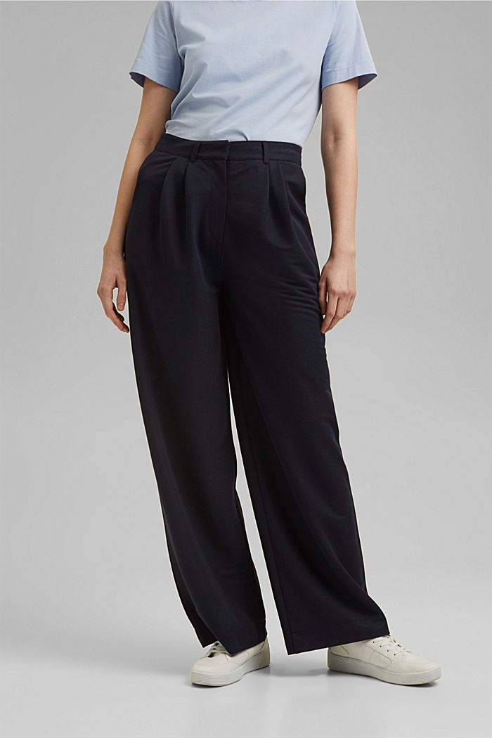 PIQUE mix + match trousers with a wide leg, NAVY, detail image number 0