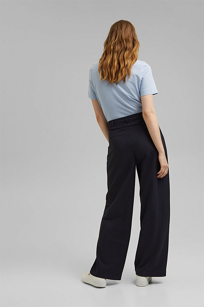 PIQUE mix + match trousers with a wide leg, NAVY, detail image number 3
