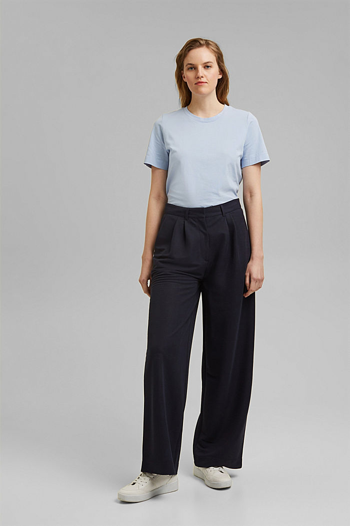 PIQUE mix + match trousers with a wide leg, NAVY, detail image number 6