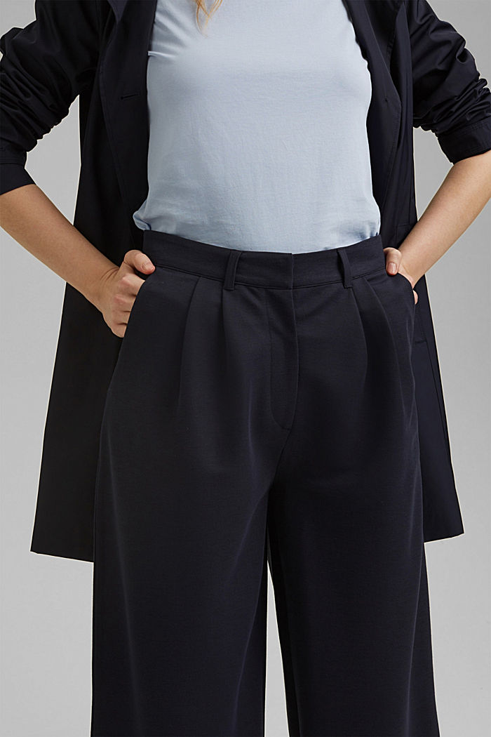 PIQUE mix + match trousers with a wide leg, NAVY, detail image number 2