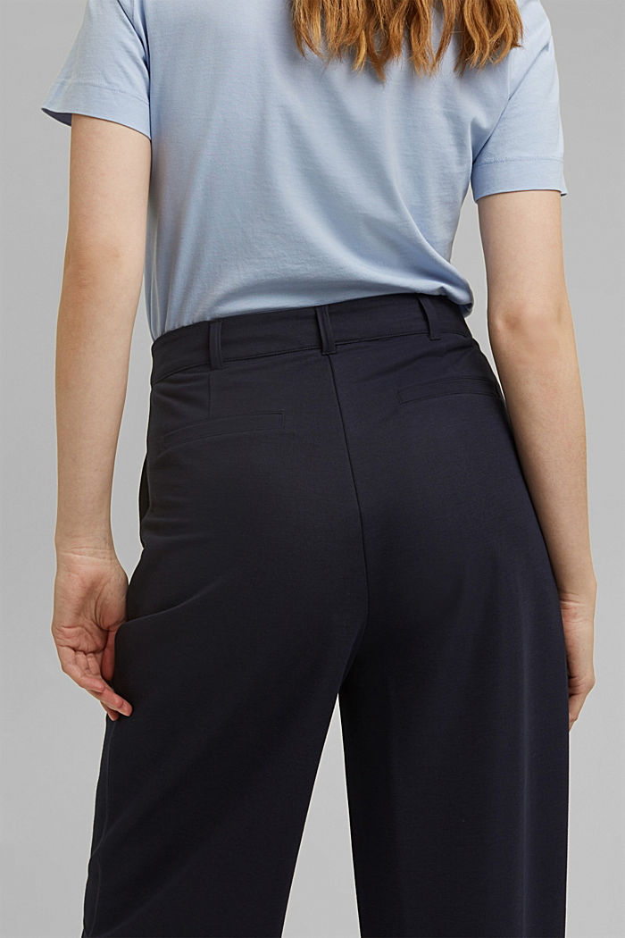 PIQUE mix + match trousers with a wide leg, NAVY, detail image number 5