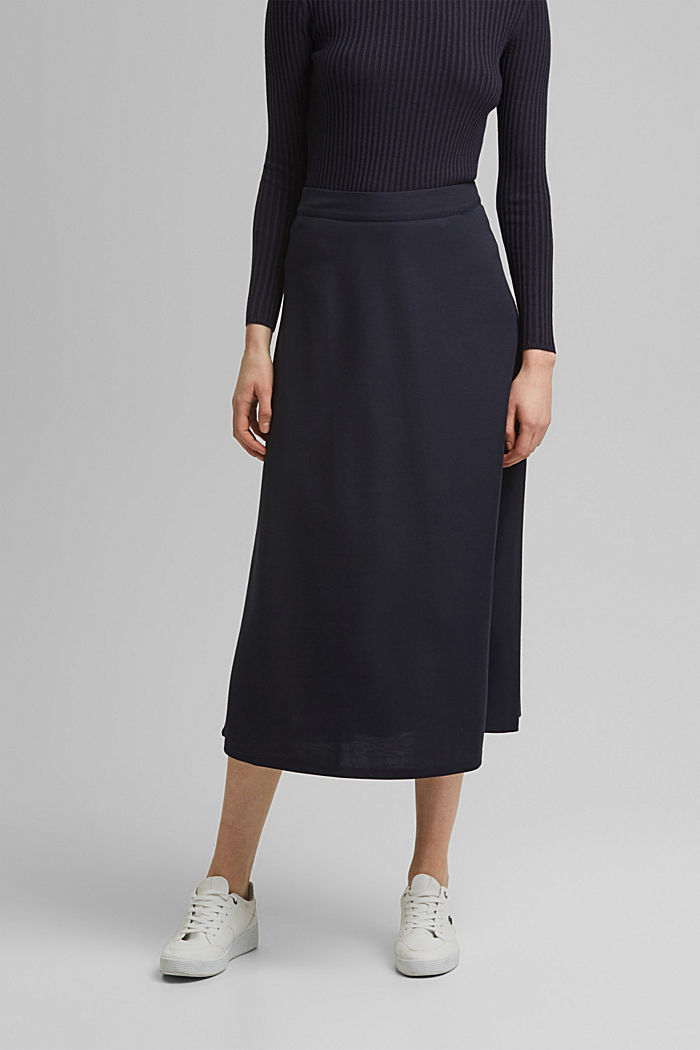 PIQUE Mix + Match midi skirt, NAVY, detail image number 0