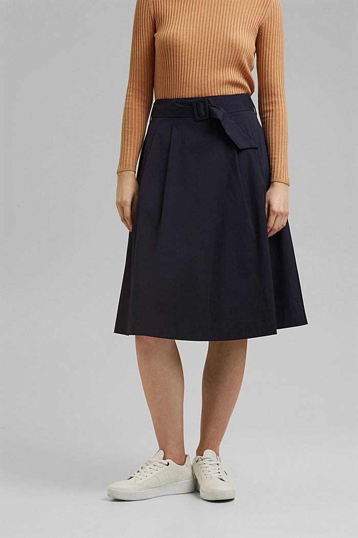 A-line midi skirt with a belt, NAVY, detail image number 0