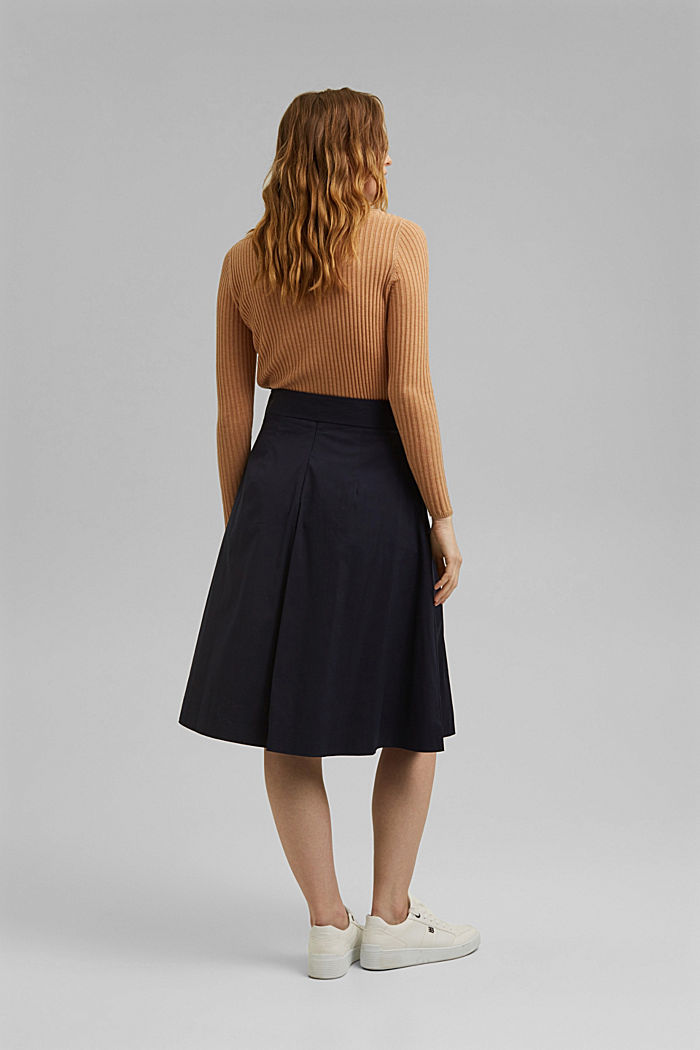 A-line midi skirt with a belt, NAVY, detail image number 3