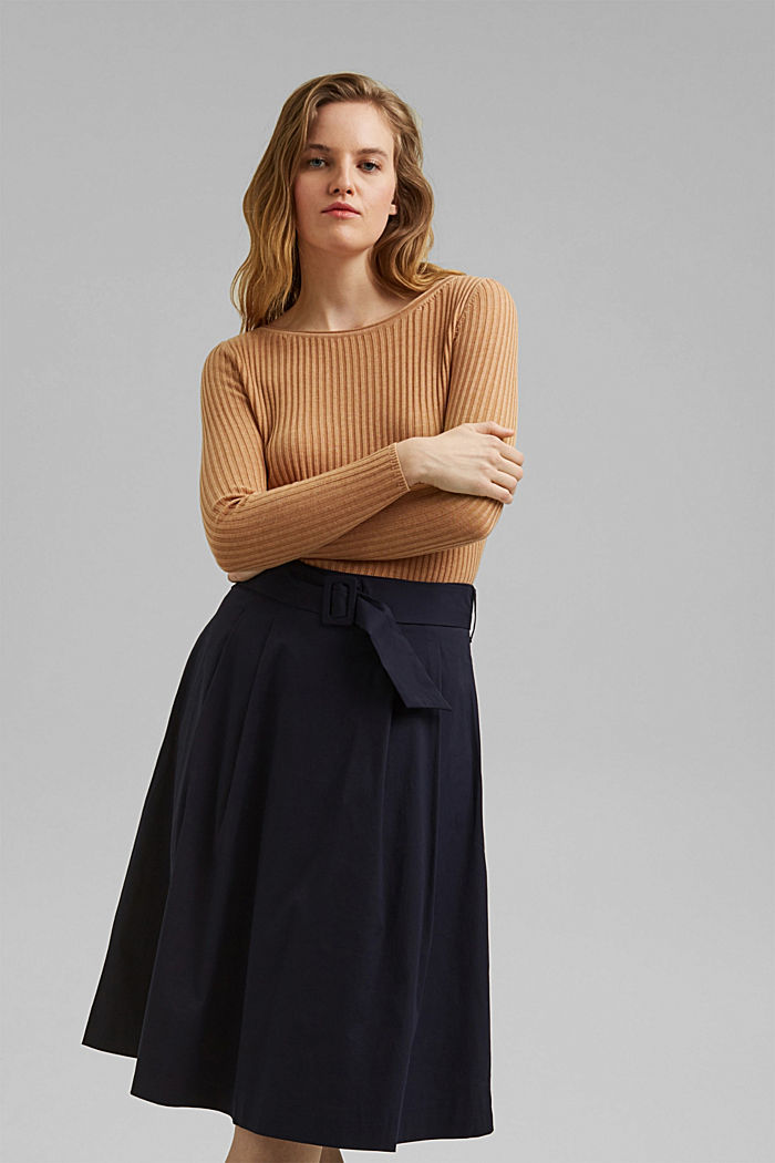 A-line midi skirt with a belt, NAVY, detail image number 5