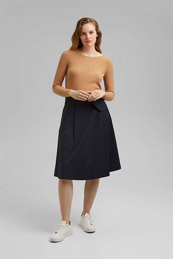 A-line midi skirt with a belt, NAVY, detail image number 6