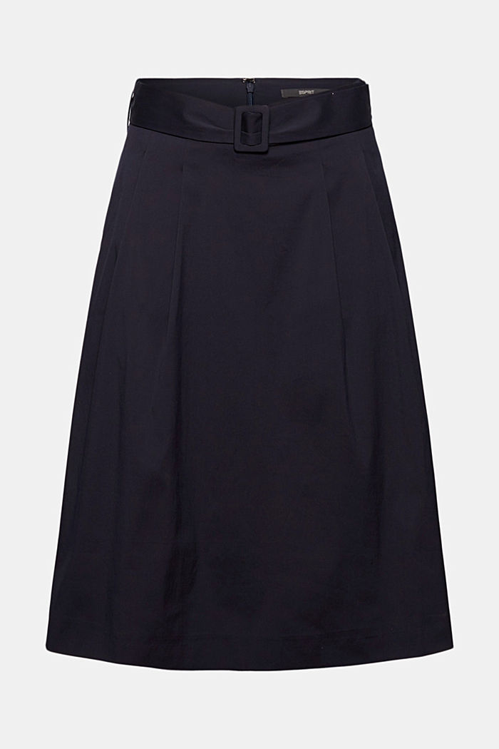 A-line midi skirt with a belt, NAVY, detail image number 7