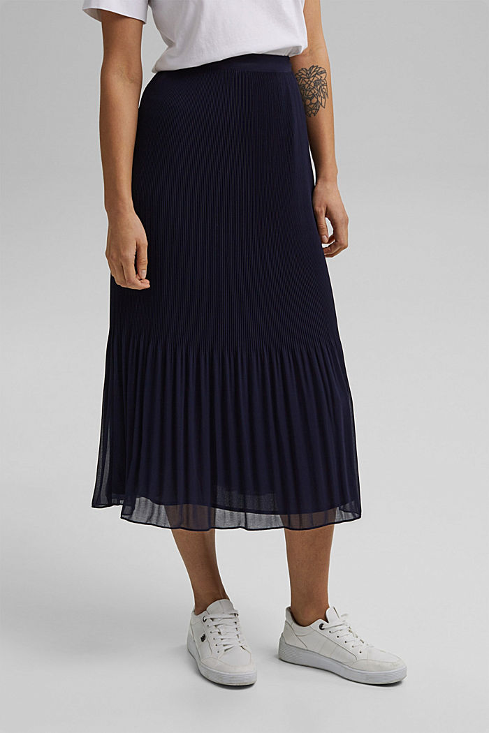 Recycled: Pleated midi skirt, NAVY, detail image number 0