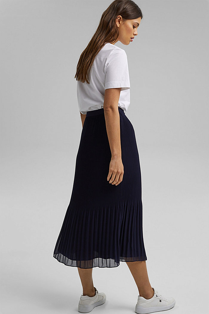Recycled: Pleated midi skirt, NAVY, detail image number 3