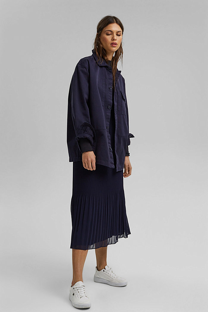 Recycled: Pleated midi skirt, NAVY, overview
