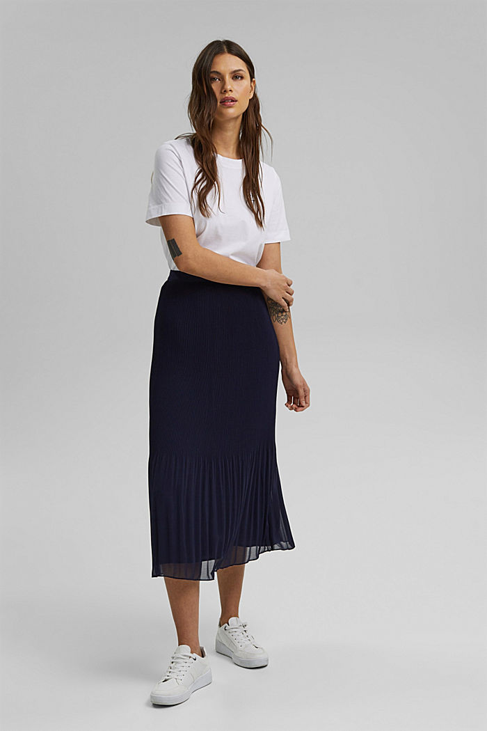 Recycled: Pleated midi skirt, NAVY, detail image number 7