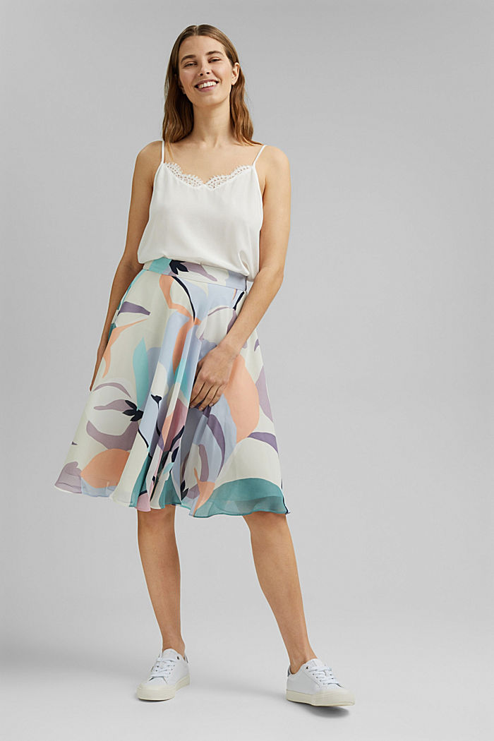 Recycled: flared chiffon skirt with a print