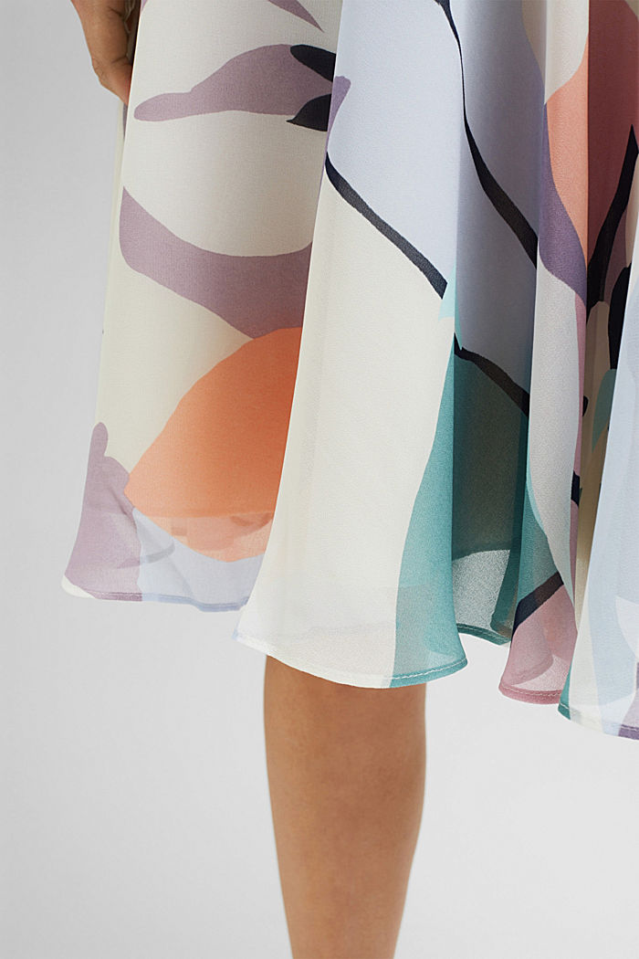 Recycled: flared chiffon skirt with a print, CREAM BEIGE, detail image number 5