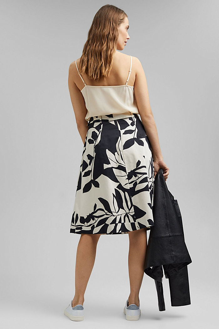 Poplin midi skirt with botanical print, BLACK, detail image number 3