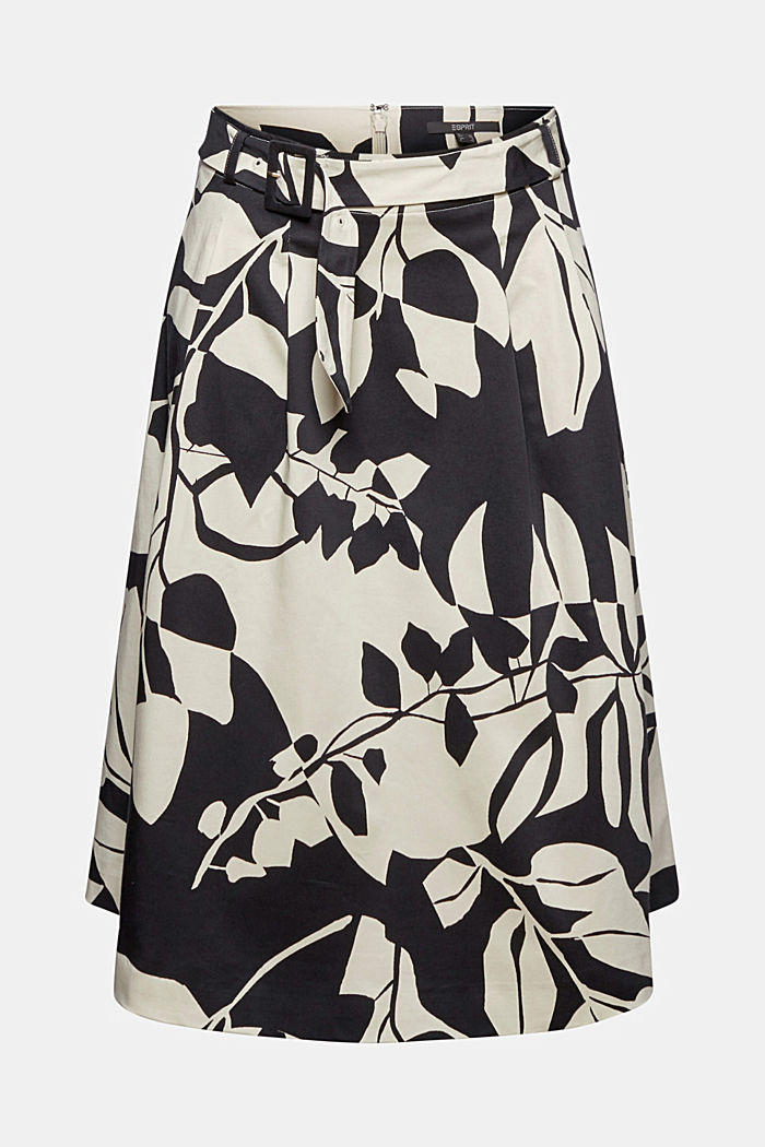 Poplin midi skirt with botanical print, BLACK, detail image number 6