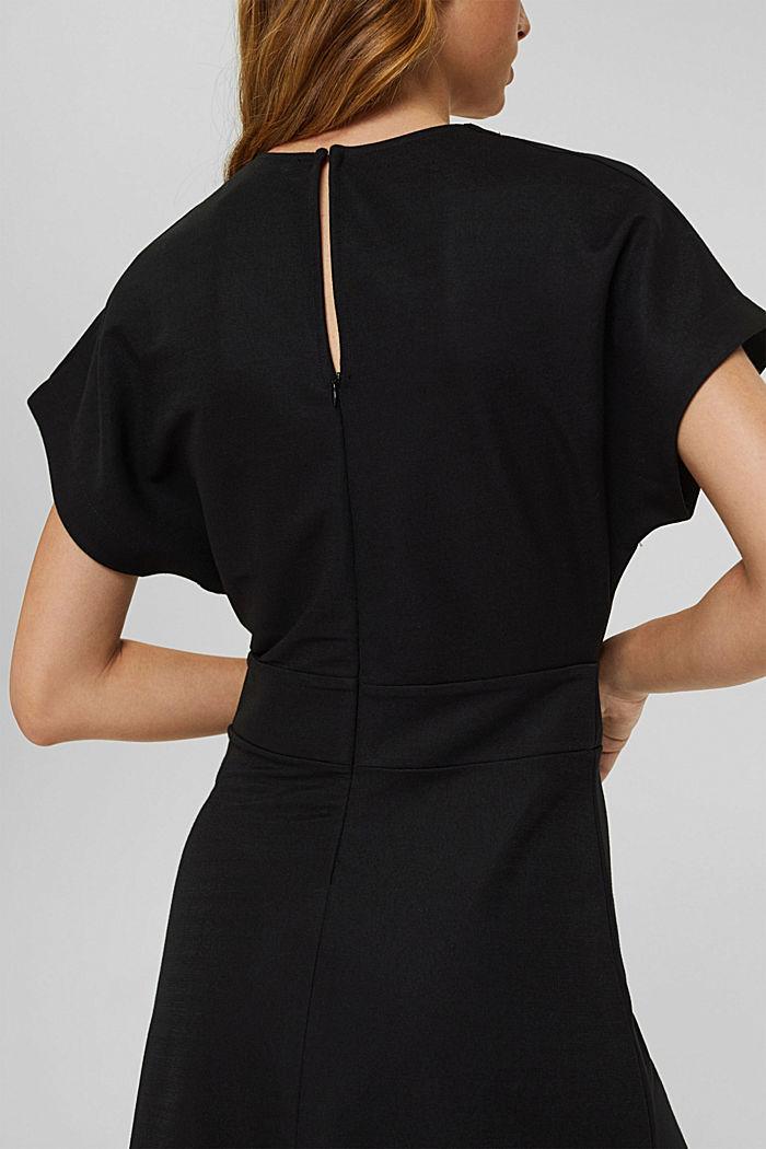Uitlopende jersey midi-jurk met wikkellook, BLACK, detail image number 5