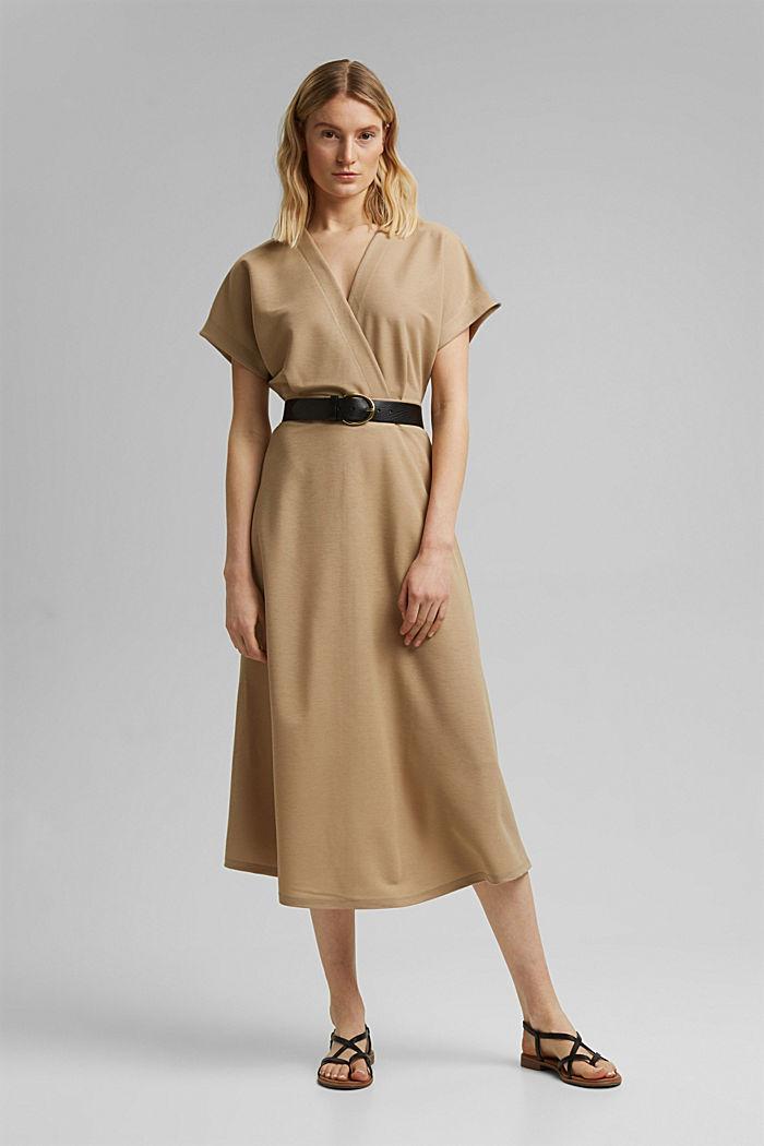 PIQUE Mix + Match Midi-Kleid in Wickeloptik, BEIGE, detail image number 1