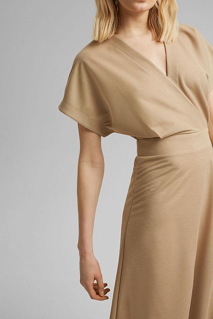 PIQUE Mix + Match Midi-Kleid in Wickeloptik, BEIGE, detail image number 3
