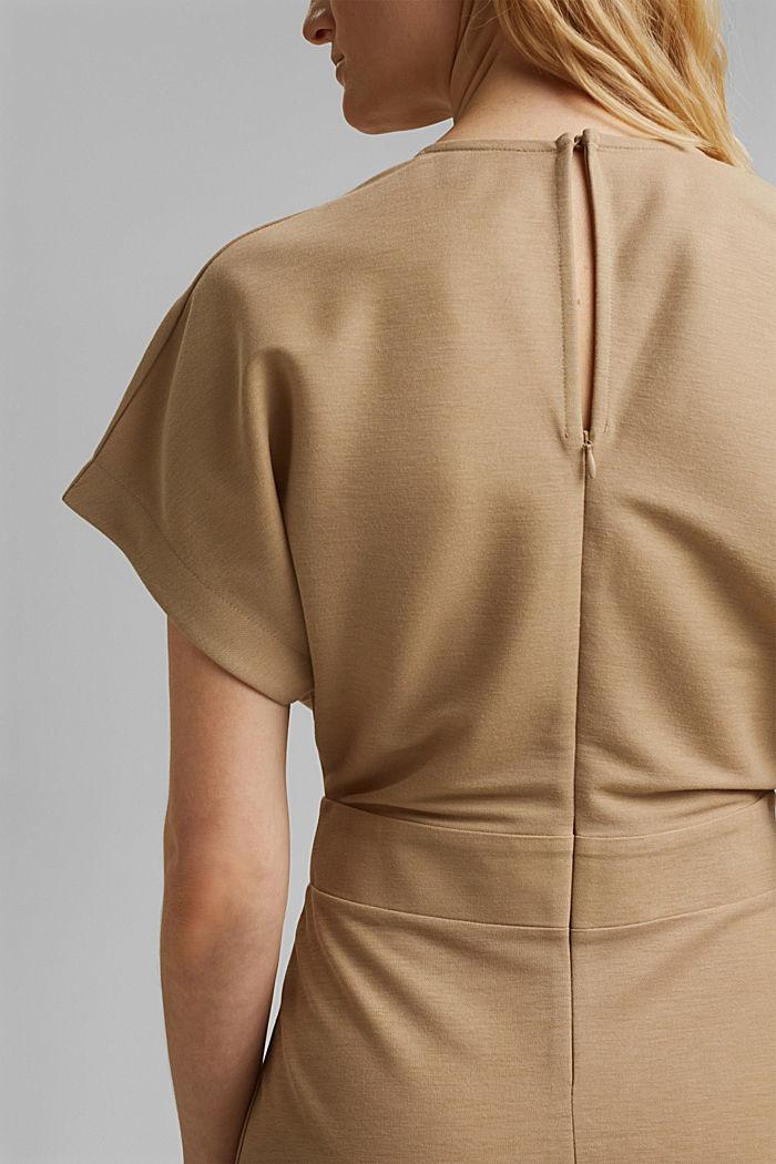 PIQUE Mix + Match Midi-Kleid in Wickeloptik, BEIGE, detail image number 6