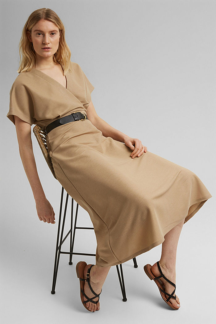 PIQUE Mix + Match Midi-Kleid in Wickeloptik, BEIGE, detail image number 7