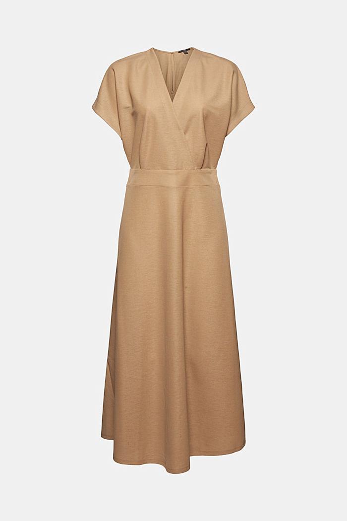 PIQUE Mix + Match Midi-Kleid in Wickeloptik, BEIGE, detail image number 8