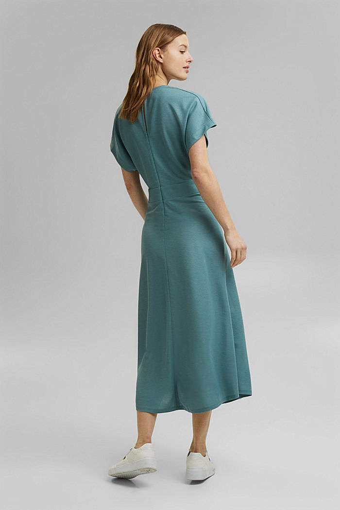 PIQUE Mix + Match wrap-effect midi dress, DARK TURQUOISE, detail image number 2
