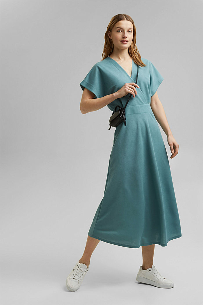 PIQUE Mix + Match wrap-effect midi dress, DARK TURQUOISE, detail image number 1