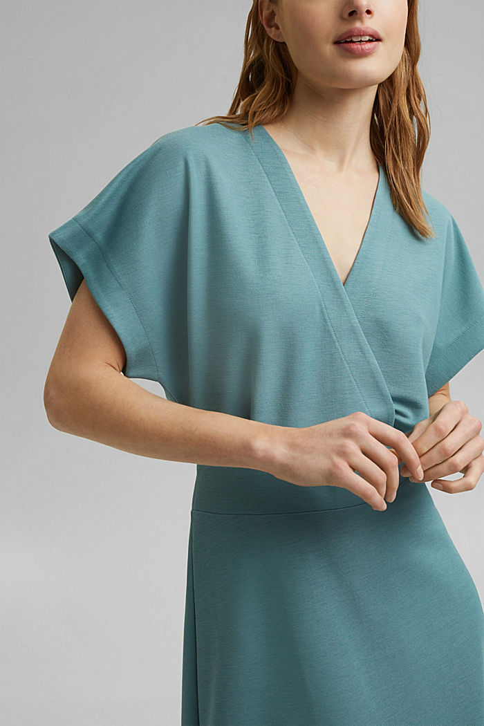 PIQUE Mix + Match wrap-effect midi dress, DARK TURQUOISE, detail image number 3