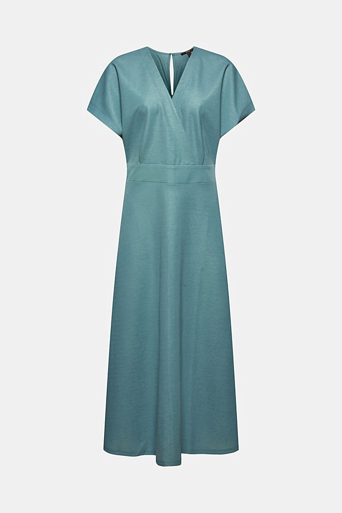 PIQUE Mix + Match wrap-effect midi dress, DARK TURQUOISE, detail image number 6
